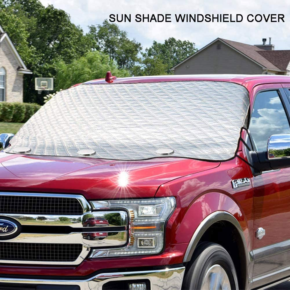 Medium Cover Car Windshield Snow Cover 4 Layers of Protection Anti-Snow-Ice//Anti-Fog Thickened Windshield Snow Cover for Car Windshield Snow Ice Cover with 3 Strong Magnetics