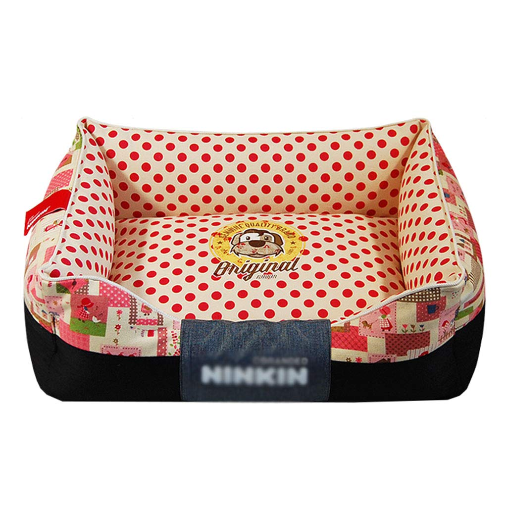 RED 45×60cm RED 45×60cm 66ccwwww Pet bed Pet Mat, Large Dog Kennel Cat House Removable And Washable Pet Nest Wear-resistant Bite Pet Bed (color   RED, Size   45×60cm)