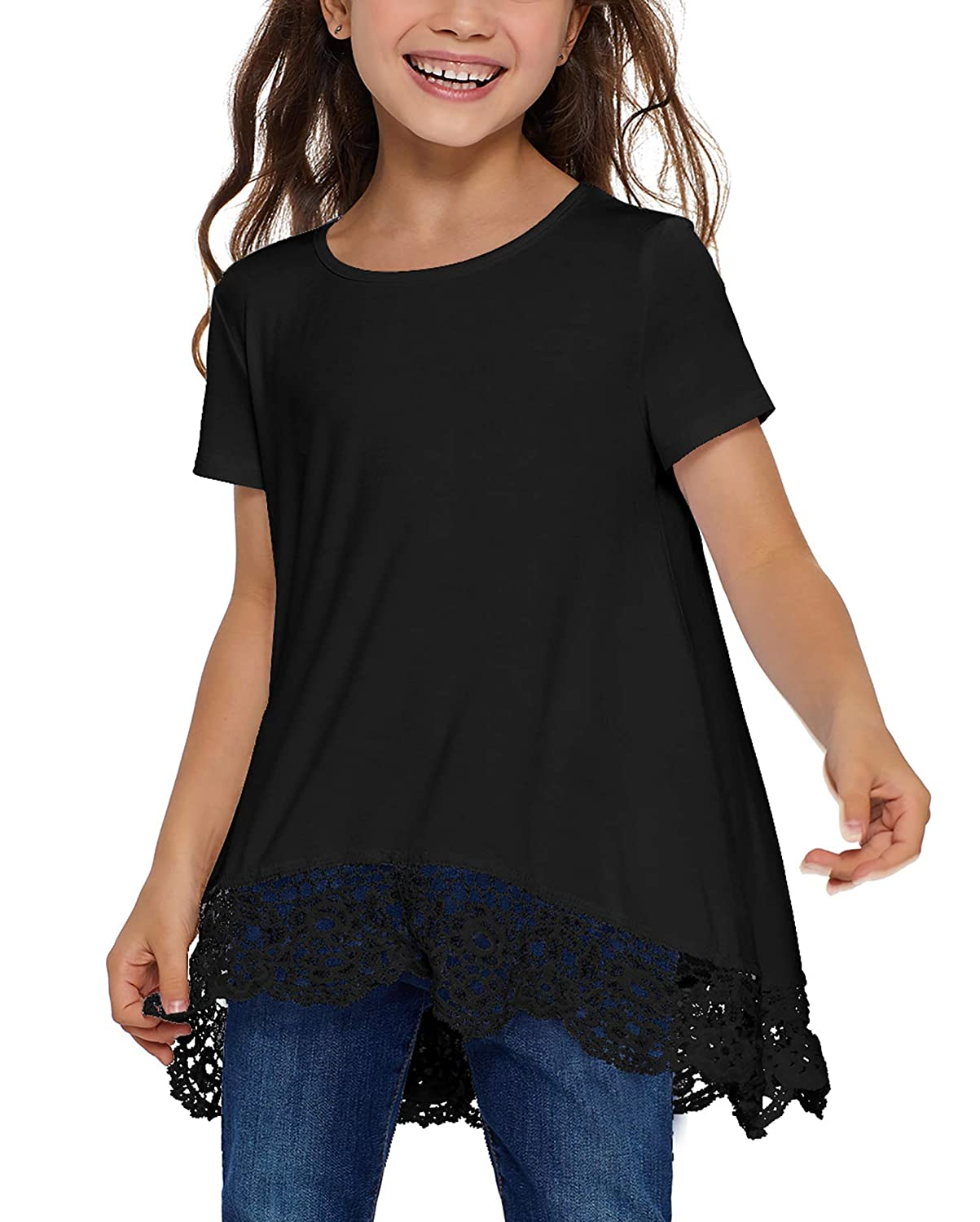 Blibea Girls Casual Loose Short Sleeve Knot Front Tops Tee Shirts Size 4-13