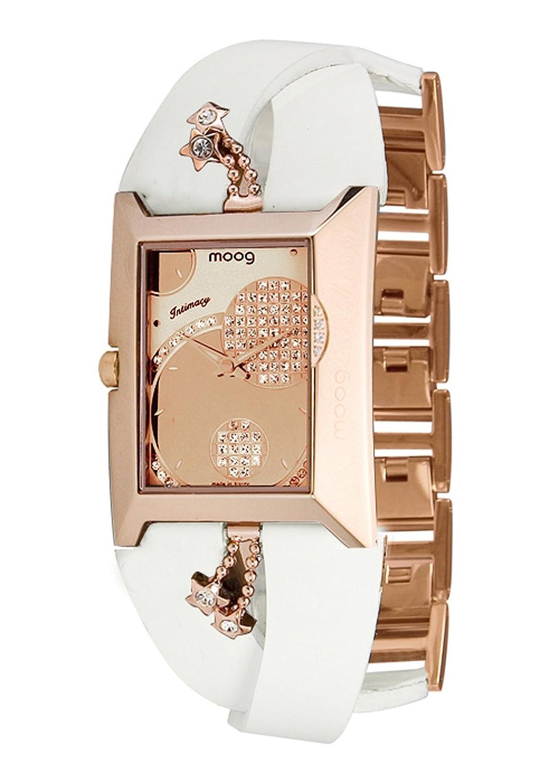 Moog Paris - Intimacy - Damen Armbanduhr - Rosegold Ziffernblatt - Armband weiß aus Kalbsleder - - in Frankreich hergestellt -