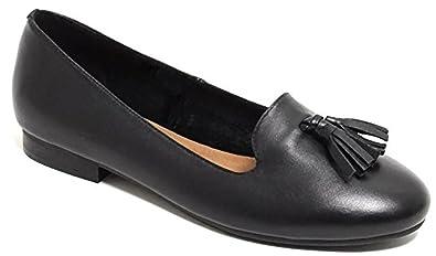 0565ee70b9afd9 Damen Leder Ballerina Loafer Lederschuhe Schuhe Sommerschuhe schwarz (40)