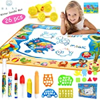 HA NI Aqua Magic Doodle Mat - Large Water Drawing Mat for Kids - Toy Toddler Painting Board with 2 Magic Pens, 1 Magic Brush, and Drawing Accessories for Boys Girls Size 39'' x 27'' (waterdoodlemat)