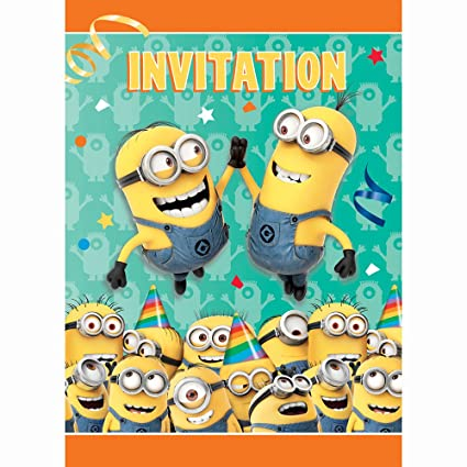amazon com unique despicable me minions party invitations 8ct