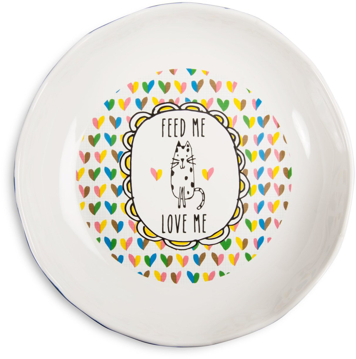 Pavilion Gift Company It's Cats & Dogs-''Feed Me Love Me'' Shallow 2'' Tall Ceramic Cat Food and Water Dish, Navy Blue