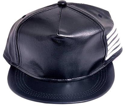 ac5df327669 Image Unavailable. Image not available for. Color  Babji Men s Black Leather  Hip Hop Cap ...