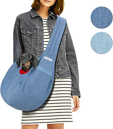 LincaPenneton Stylish Denim Pet Sling Dog Carrier Shoulder Bag Breathable Fabric Adjustable Padded Strap Small Cat Dog Puppy Travel Hands Free up to 11 lbs