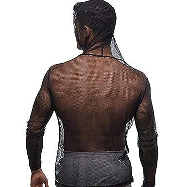 9fd9fe34 Agoky Mens Sexy Mesh Fishnet See Through Undershirts Hoodies Long Sleeve  Tees Top T-Shirt