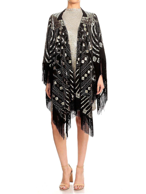 Shawls & Wraps | Vintage Lace & Fur Evening Scarves Anna-Kaci Womens Oversized Hand Beaded and Sequin Evening Shawl Wrap with Fringe $39.99 AT vintagedancer.com