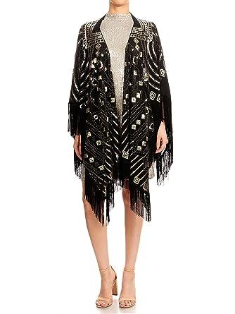 aa5a881a089 Anna-Kaci Womens Oversized Gatsby Hand Beaded Fringed Sequin Evening Shawl  Wrap