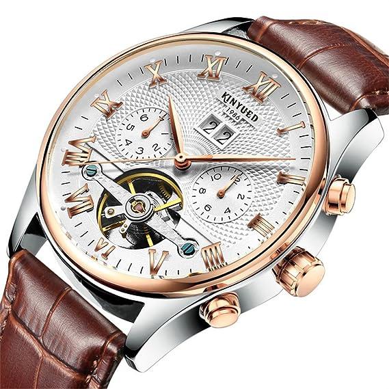 Moda Lujo Tourbillon Reloj Mecánico Automático Calendario Correa de cuero Relojes de pulsera para hombres, Marrón-Blanco: Amazon.es: Relojes