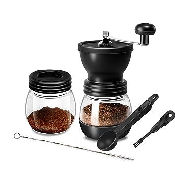 WOT I Kaffeem/ühle Manuell aus Glas mit Keramikmahlwerk Verstellbaren Hand-Kaffeem/ühle Geschenkverpackung Verf/ügbar mit zus/ätzlichem Vorratsglas