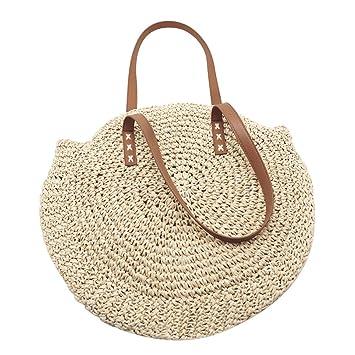 Bolsa de playa tejida, al aire libre, circular hecha a mano ...