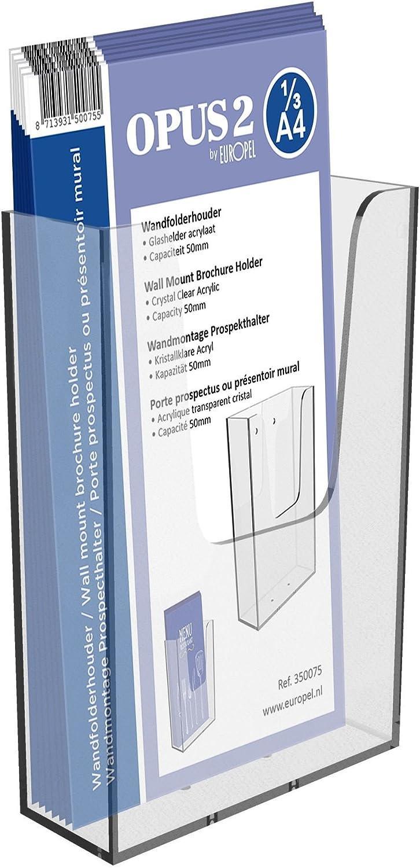 OPUS 2 350075 - Porta-folletos de pared, Plástico sólido, para 1/3 A4