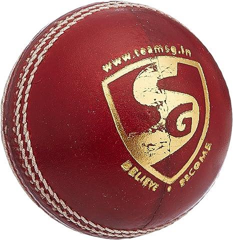 Gortonshire SG Seamer - Pelota de Cricket (Piel), Color Rojo ...