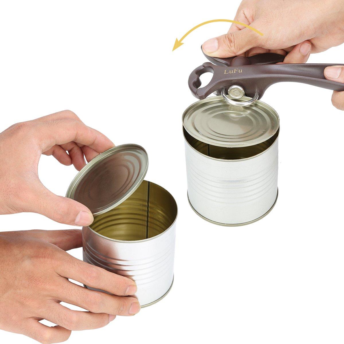 Le meilleur choix du chef. ouvre-bo/îte de cuisine 2 en 1 avec le bord soign/é et lisse ouvre-bouteille LUFU Ouvre-bo/îte manuel