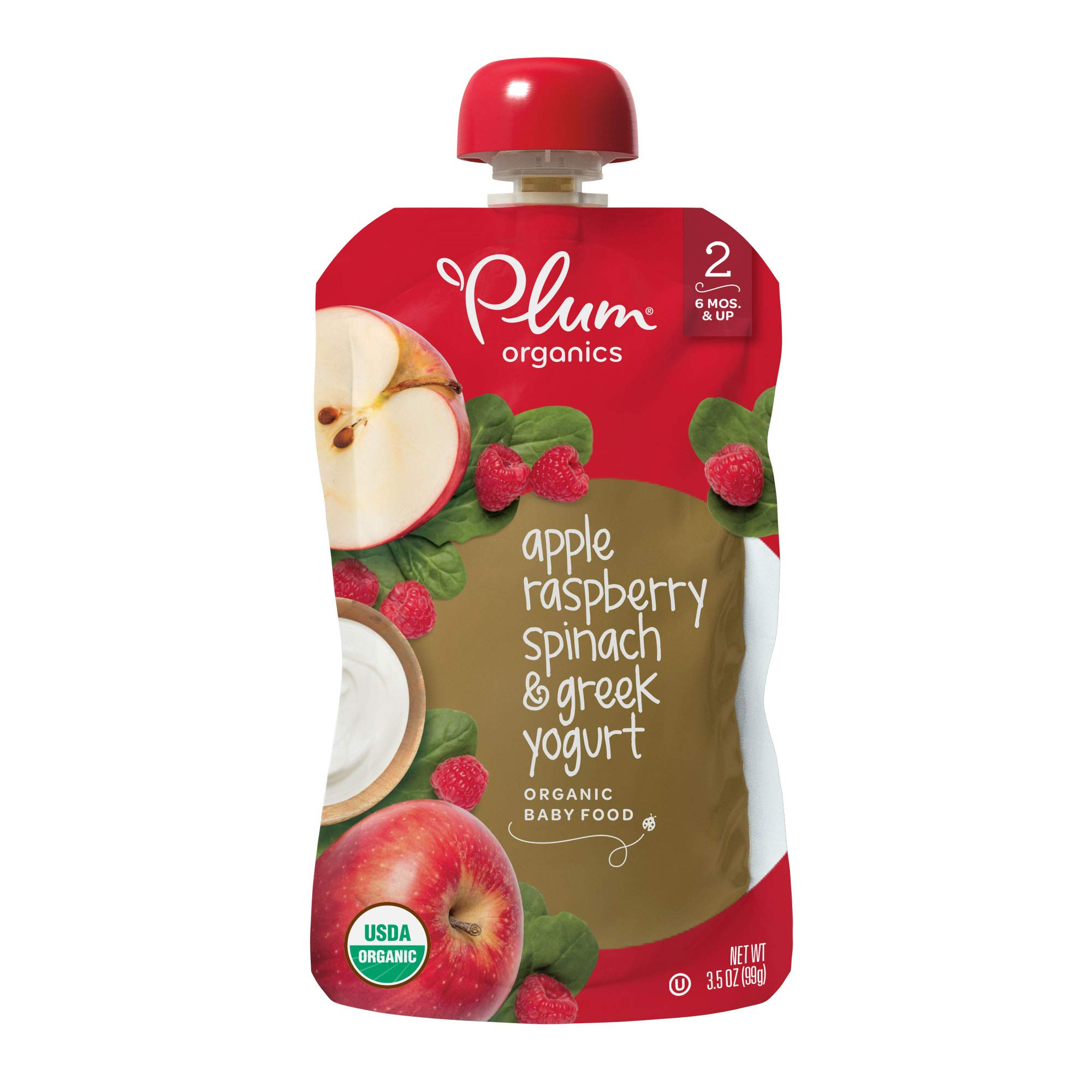 Plum Organics Stage 2 Organic Baby Food, Apple, Raspberry, Spinach and Greek Yogurt, 3.5 ounce pouches (Pack of 12) (Packaging May Vary) by Plum Organics
