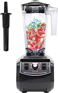 Huanyu 2200W Multifuncional Blender 3L Large Capacity Juicer Multi Mixer Smoothie Maker Soy Milk Baby Food Electric with Radial Cooling Fan&Thermal Protection System Commercial (210-240V, Black)