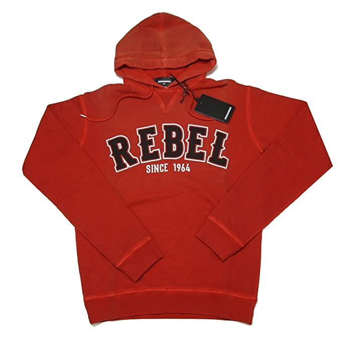 DSQUARED A0843 Felpa Uomo D2 Rosso Sweatshirt Men  Amazon.it  Abbigliamento 22e5cfe4403d