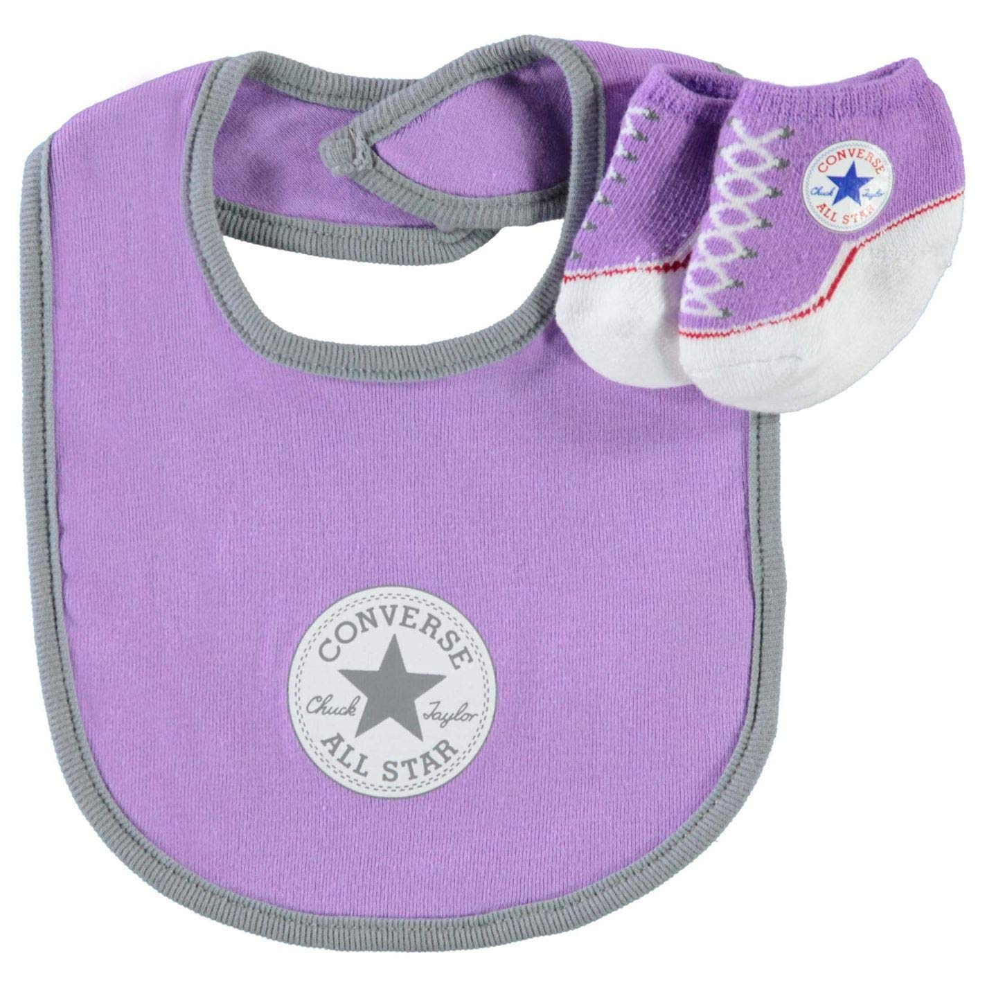Converse Infant Baby Chuck Taylor Booties & Bib Set (0-6 Months, Lilac(IC0052)/Grey) by Converse