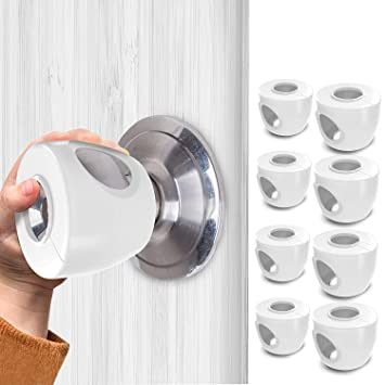 HGY Home Doorknob Safety Cover Silicone Doorknob Case compatible with Protecting Baby Anti-collision White