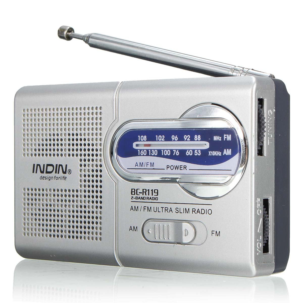 QOJA indin bc-r119 am/fm portable pocket radio receiver telescopic