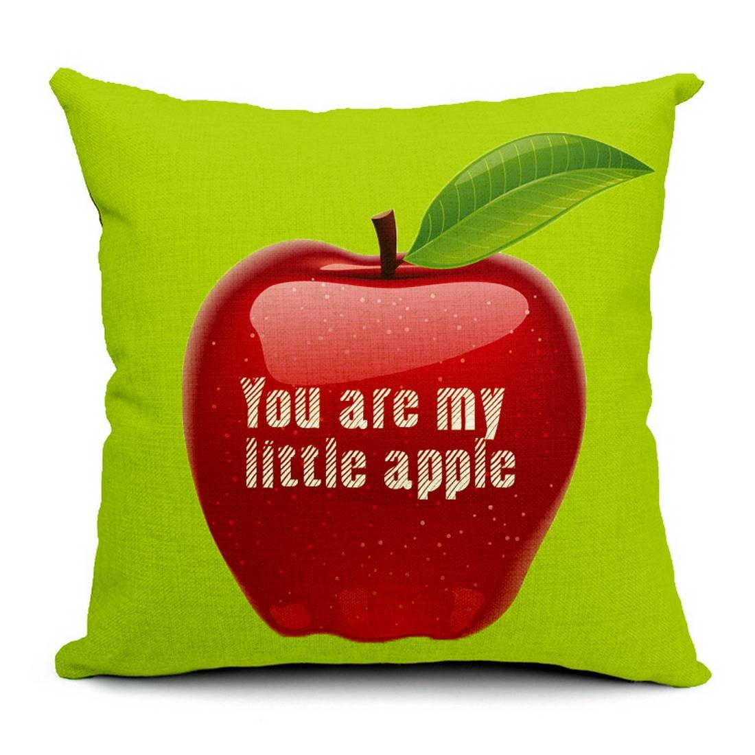 COMVIP Zipper Cotton Throw Pillowcase Decorative for Couch Bed Little Apple #1