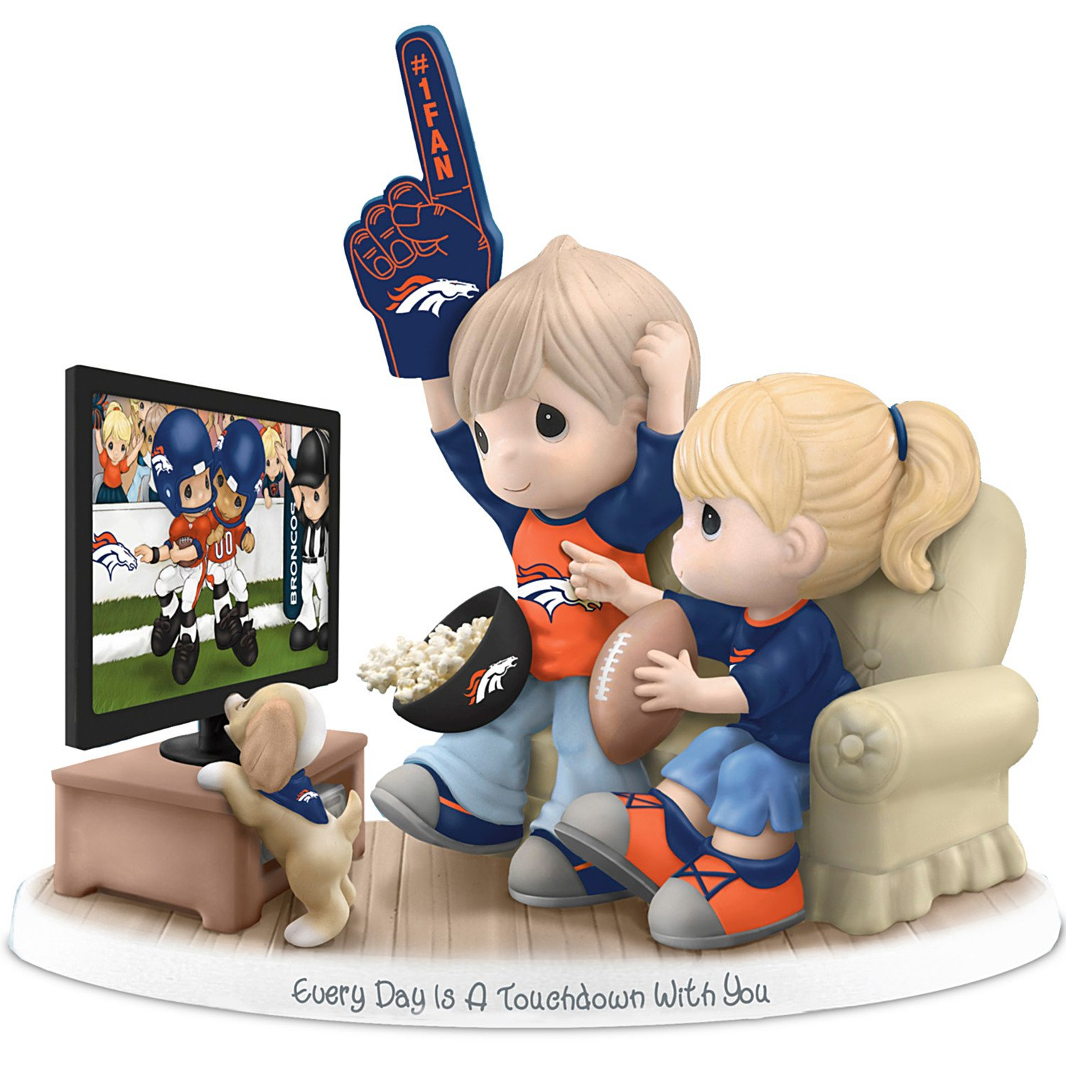 Figurine: Precious Moments Every Day Is A Touchdown With You Broncos Figurine by The Hamilton Collection by The Hamilton Collection