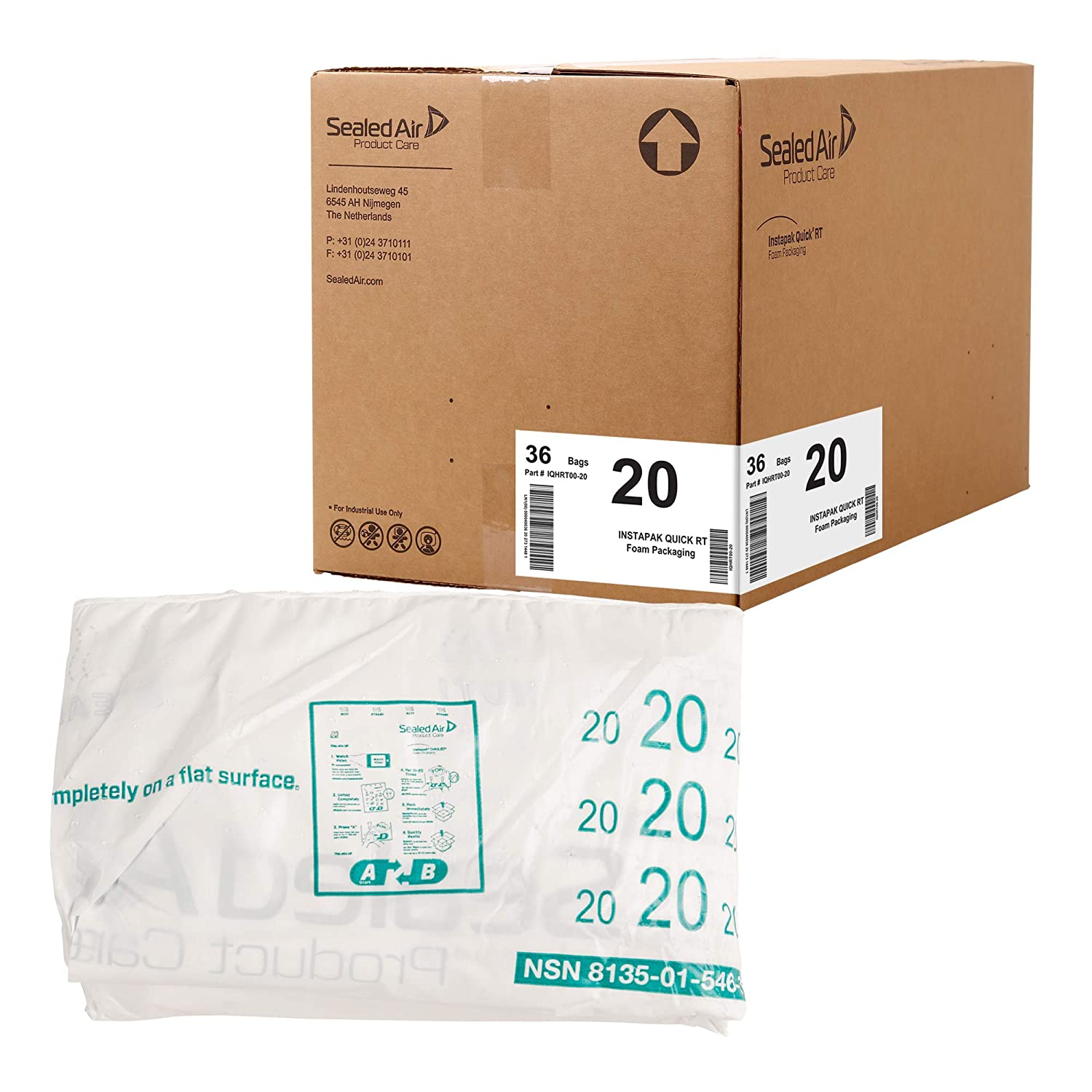"""Sealed Air Instapak Quick RT #100 Heavy Duty Expandable Foam Bag, for 16""""x16""""x16"""" Box, Case of 72, Expandable Foam Packaging Bags for Shipping Boxes, 25""""x27"""""""