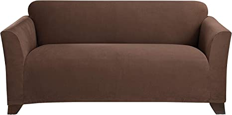 Surefit Stretch Morgan Box Cushion Sofa Loveseat Slipcover Form Fit Polyester Spandex Machine Washable One Piece Chocolate Color Home Kitchen
