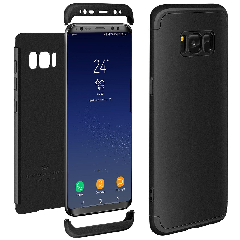 Samsung Galaxy S8 Funda Negro, ivencase Carcasa Tapa Prima Híbrido Rugged 3 en 1 Duro Anti-rasguños Mate PC Back Bumper de Protector Anti-Scratch Case Cover ...