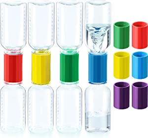 18 Pieces Tornado Tube Bottle Connector Cyclone Tube for Scientific Experiment Including 8 Small Tornado Bottle and 10 Tornado Connector (5 Random Colors)