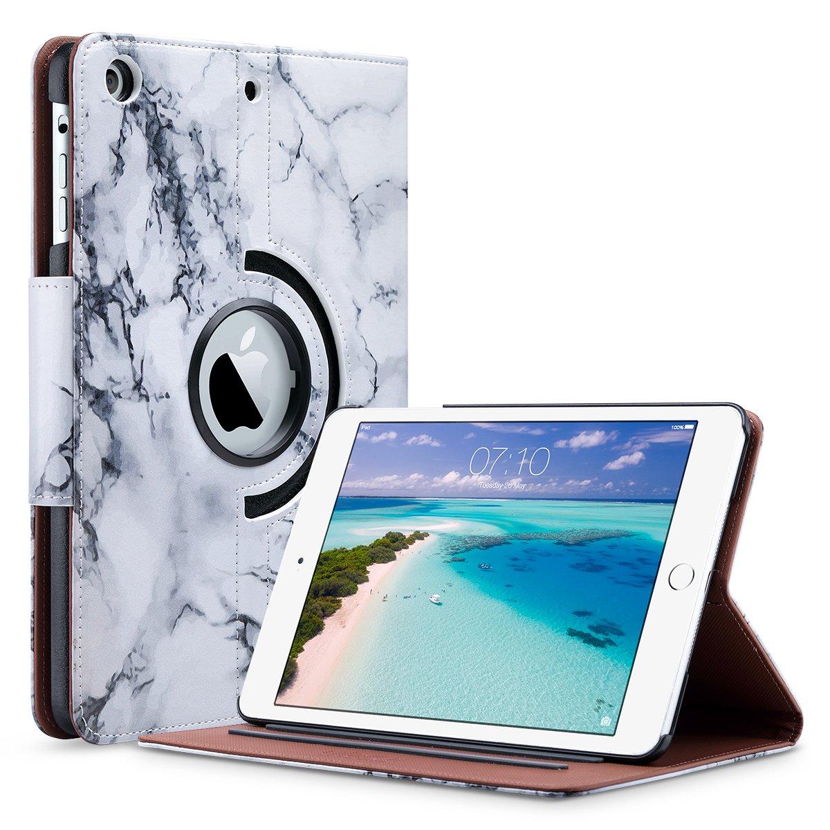 iPad Mini 2 Funda / Mini 3 Carcasa, ULAK Cubierta de cuero sintética giratoria de la caja de 360 grados para el iPad Mini 1/2/3 con el sueño auto / función de la estela (piña rosa oro)