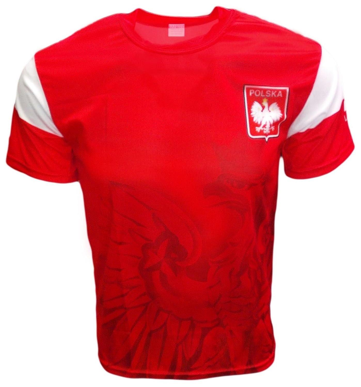 Polska Eagle Athleticサッカージャージーシャツ B00XKDADGK Large|レッド レッド Large
