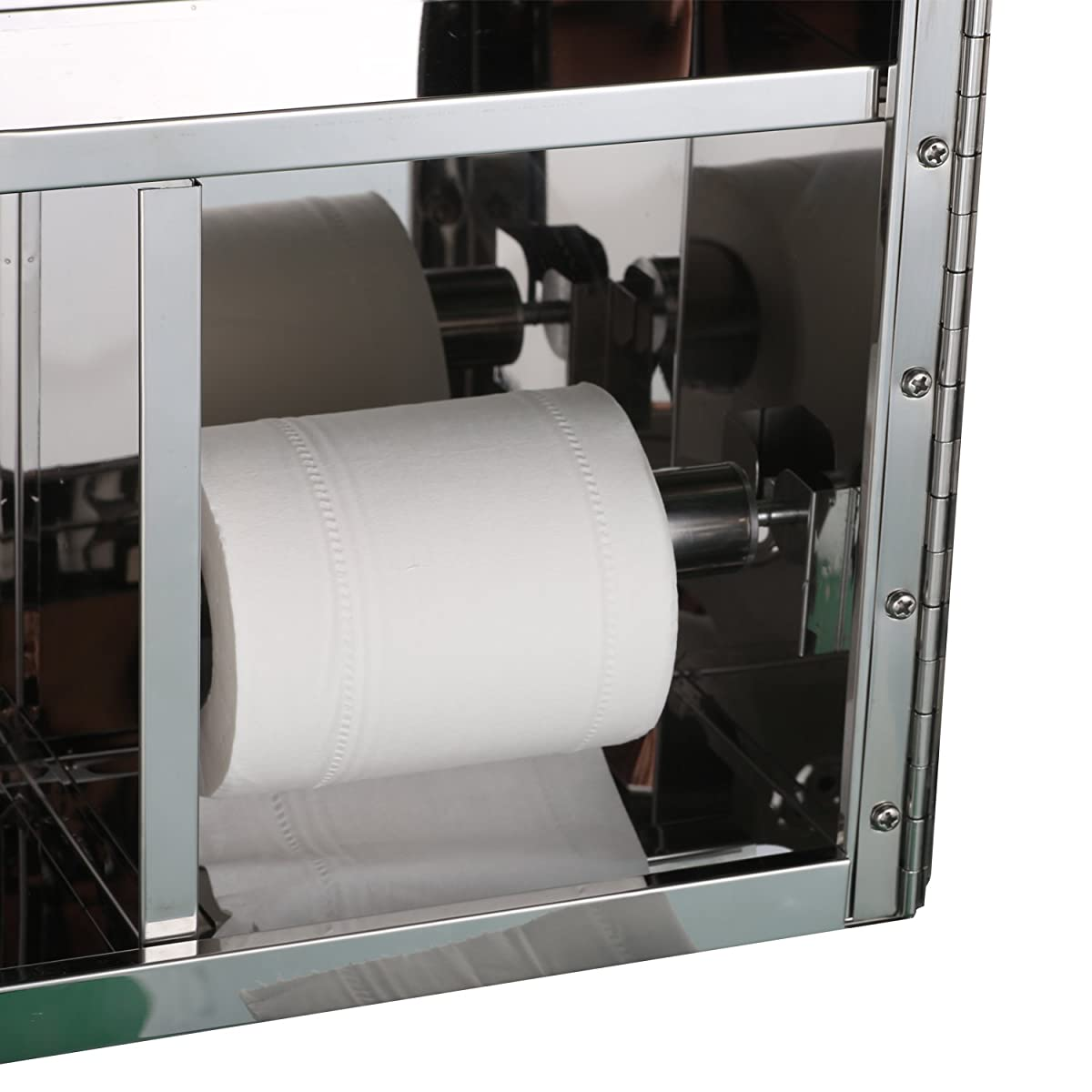"HomCom 16"" x 16"" Stainless Steel Bathroom Mirror / Medicine Cabinet w/ Tissue Dispenser and Outer Storage"