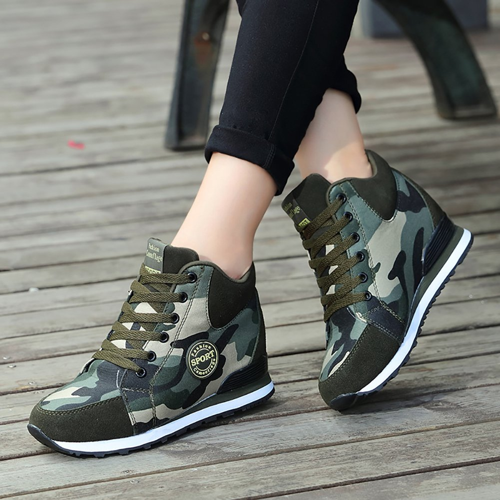 3d0b765f30eeb Amazon.com | No.66 TOWN Women's Camouflage High-Heel Sneakers Inner  Heightening Leisure Running Shoes US 4.5-10 | Fashion Sneakers