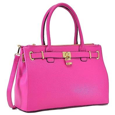 Dasein Women s Top Handle Satchel Handbags Tote Designer Purse Padlock  Shoulder Bag 1d78a30702b0b