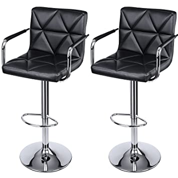 songmics adjustable bar stools with arms and back leather swivel barstool chairs set of 2
