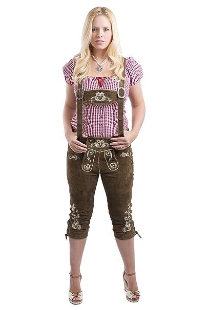 Schöneberger Trachten Couture - Pantalón de traje típico tirolés para mujer  (con tirantes 793566bb5b66