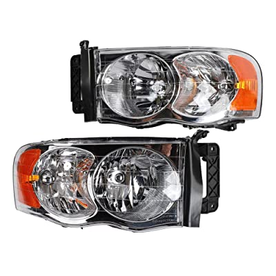 2PC Driver & Passenger Headlights Headlamps Set Replacement fit for Dodge 2002 2003 2004 2005 Ram 1500 & 2003-2005 Ram 2500 / Ram 3500 Chrome: Automotive