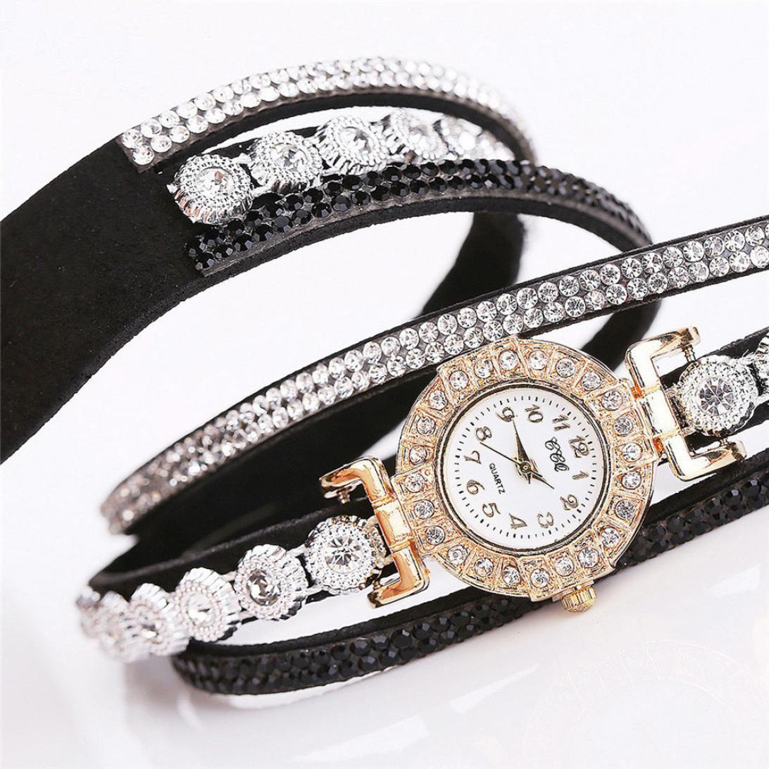 Amazon.com: Womens Watch,Boho Wrap Around Rhinestone Bracelet Analog Quartz Business Wristwatch Axchongery (Black): Clothing