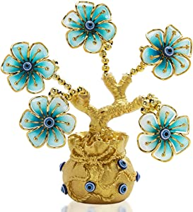 YU FENG Turkish Blue Evil Eye Flowers Golden Money Fortune Tree with Lucky Bag Vase for Home Decoration