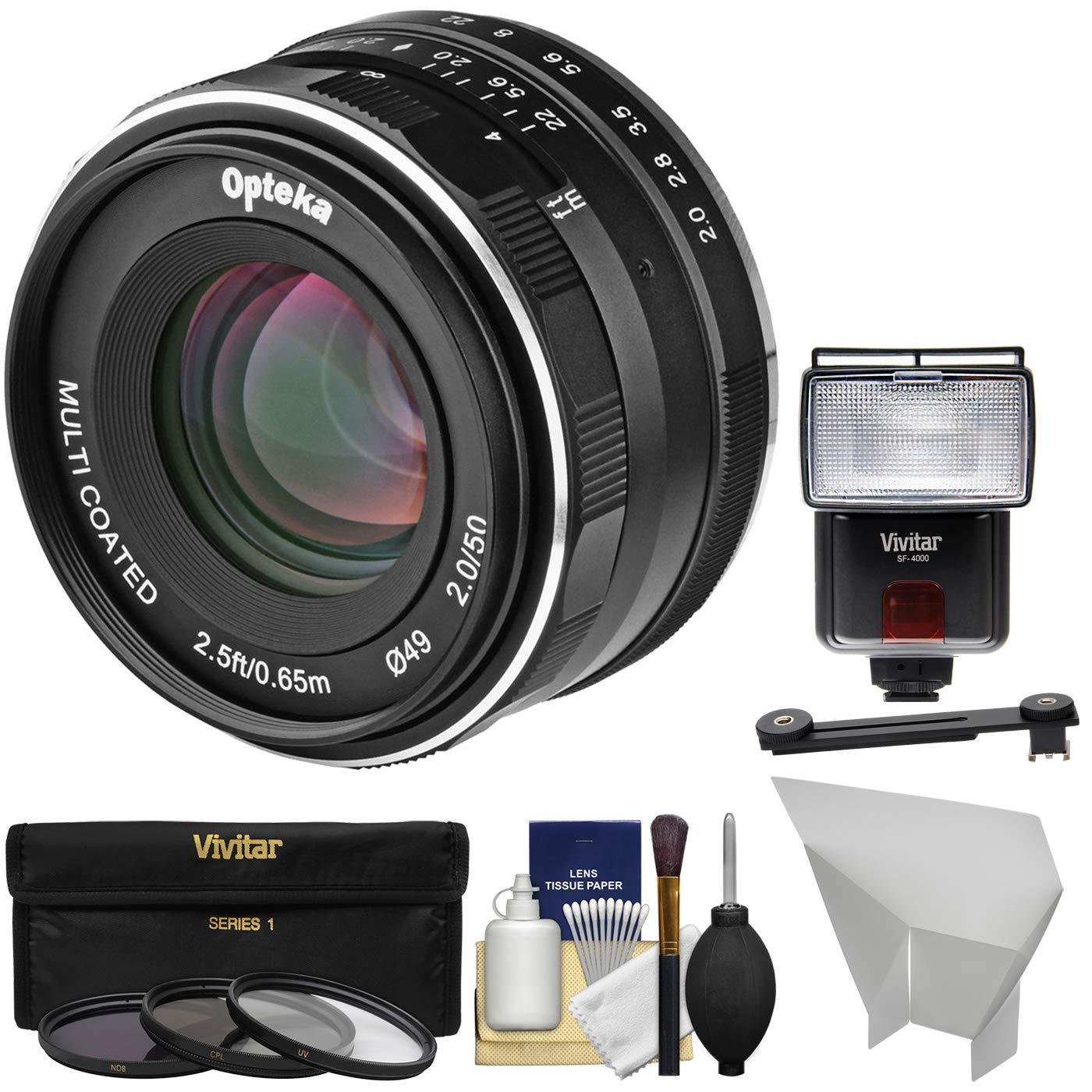Opteka 50mm f/2 HD MF Prime Lens with 3 Filters + Flash + Diffusers Kit for Sony Alpha E-Mount Digital Cameras by Opteka (Image #1)