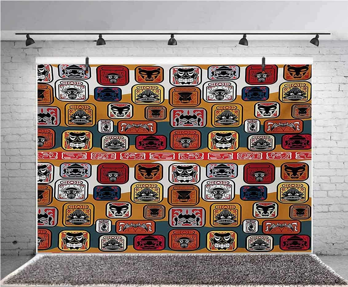 Primitive 10x6.5 FT Vinyl Photo Backdrops,Native American Style Mayan Face Mask in Different Expressions Universal Totem Background for Selfie Birthday Party Pictures Photo Booth Shoot