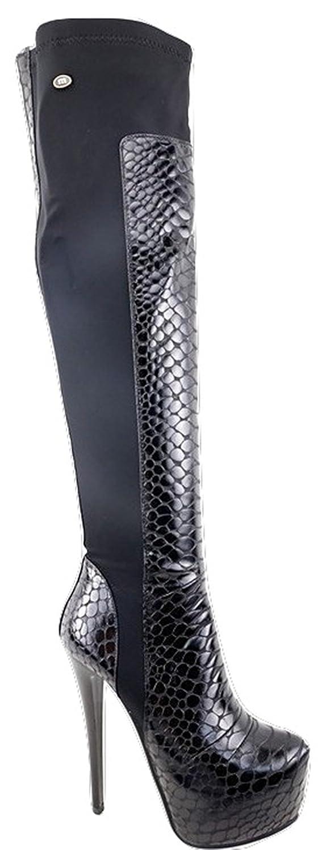 Extravagante Overknee High Heel Stiefel in Schlangenoptik Schwarz