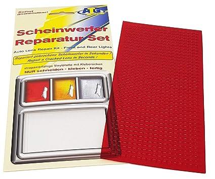Kit de reparación de faros con placa de PVC de color rojo. Apto para faros delanteros y traseros de coches, motos o caravanas. Asistencia de ...