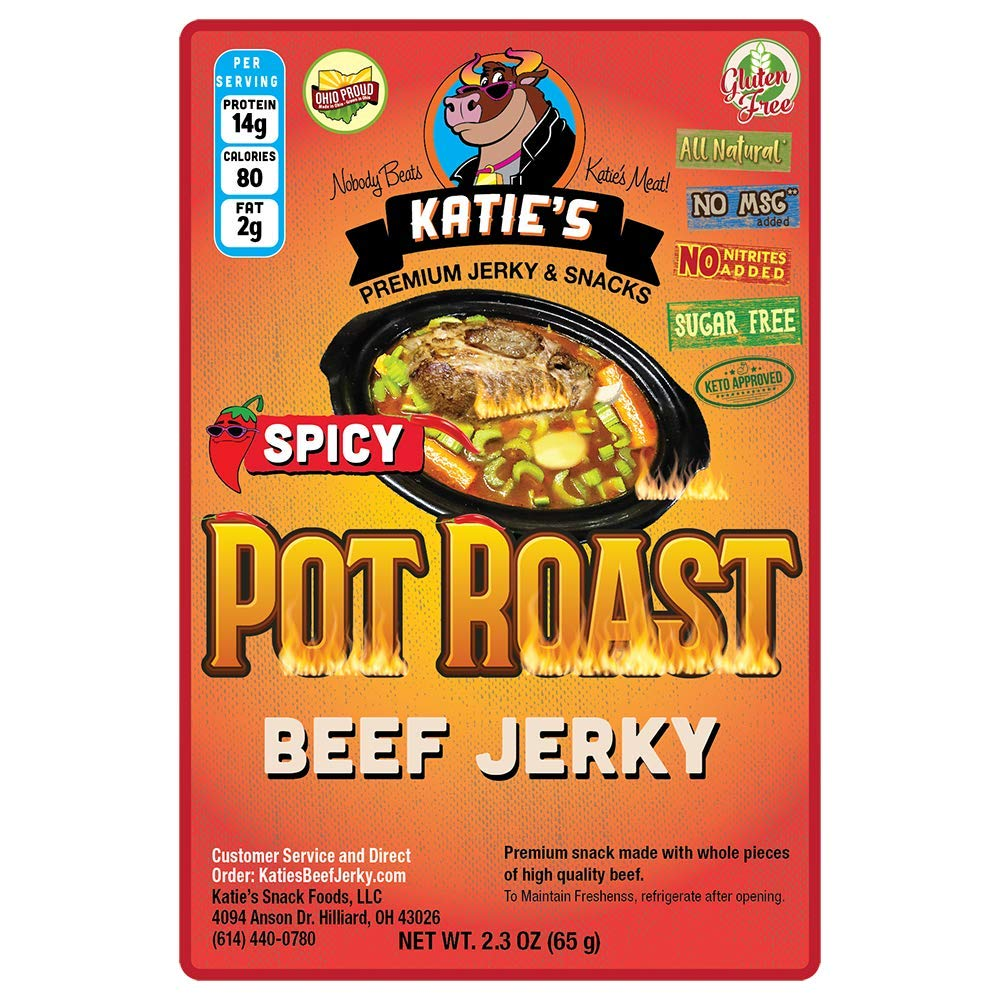 Spicy Pot Roast Beef Jerky (1 pk) - Sugar Free/Keto Friendly - Gluten Free - All Natural