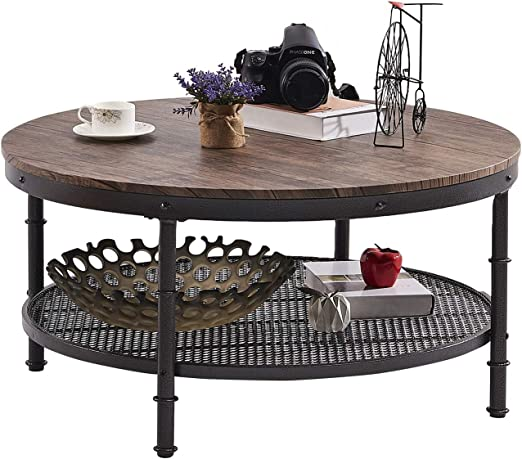 GreenForest – Coffee Table Round Industrial Design Metal Legs with Storage  Open Shelf for Living Room, Rustic Walnut