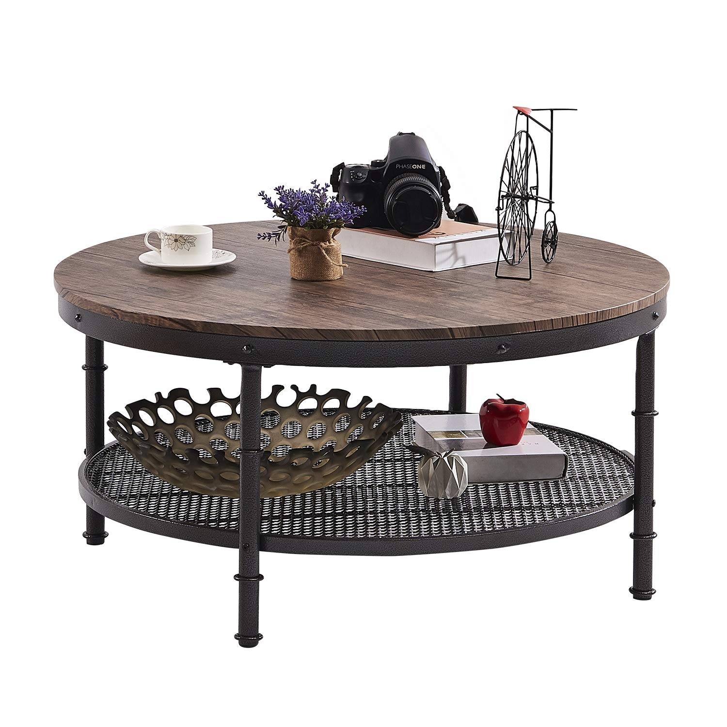 GreenForest - Coffee Table Round Industrial Design Metal Legs with Storage Open Shelf for Living Room, Rustic Walnut by GreenForest
