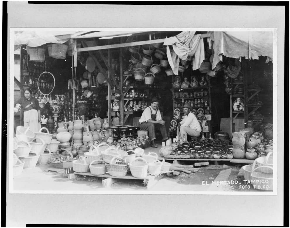 1890 Photo Store Tampico Tamaulipas with baskets and pottery in foreground Mexico Location: Mexico Tampico
