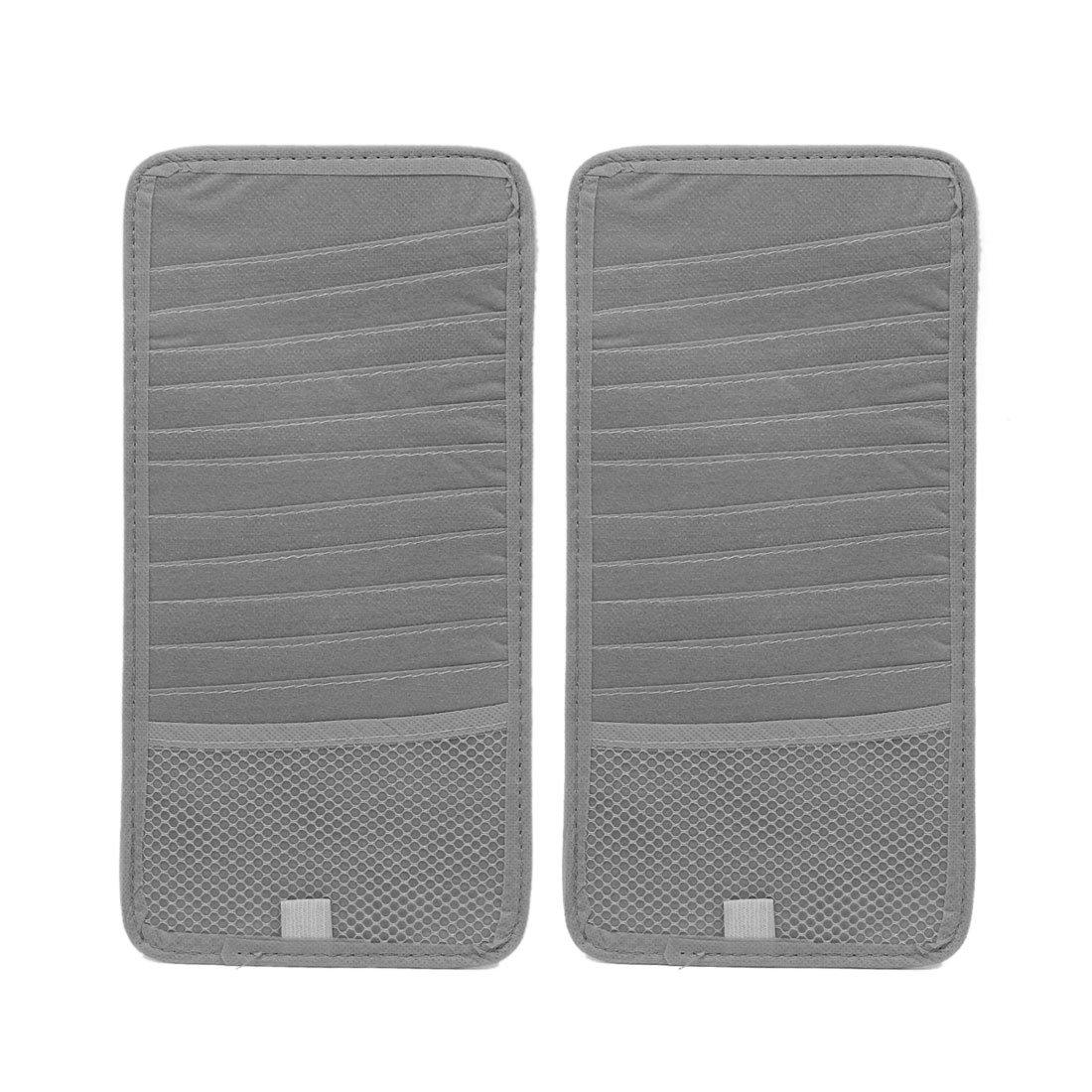 uxcell 2Pcs Gray Rectangle Shaped Car CD DVD Sun Visor Card Storage Organizer Holder